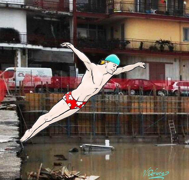Noicattaro. Vignetta piscina Ex Mercato coperto intero