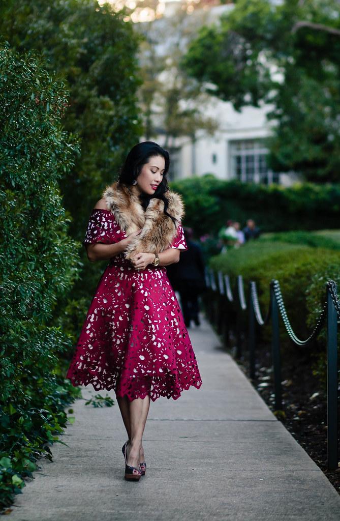 cute & little blog | petite fashion | fur stole, wine red laser-cut off shoulder dress, glitter pumps | winter holiday dress - Wine Red Holiday Dress by Dallas petite fashion blogger cute & little