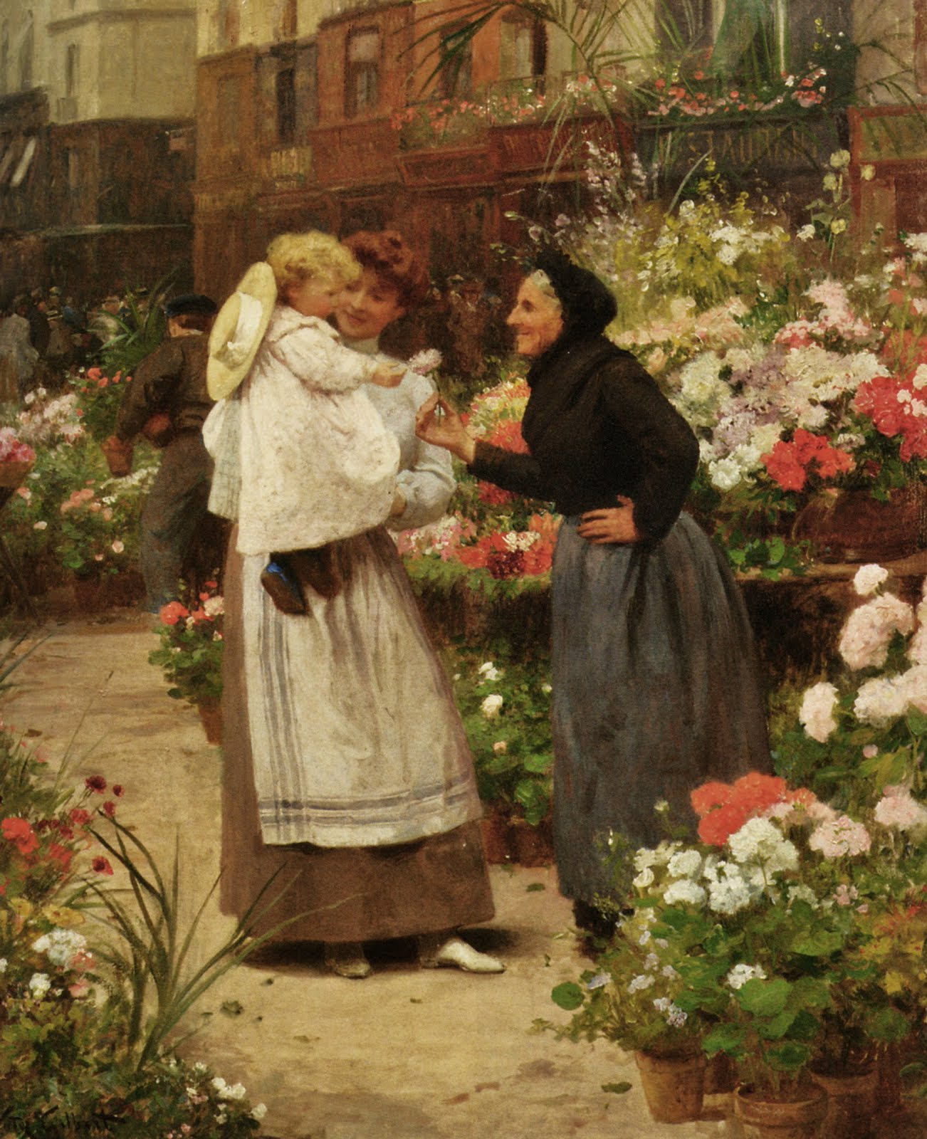 Flower offering to a child by Victor Gabriel Gilbert