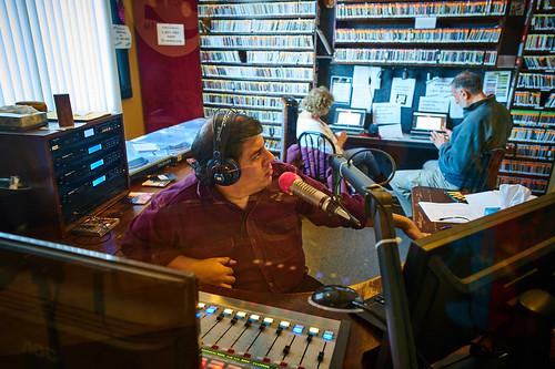 Jorge on the air. Photo by Eli Mergel