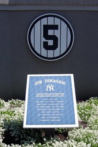 NYC - Bronx: Yankee Stadium - Monument Park - Retired Numbers - Joe DiMaggio #5