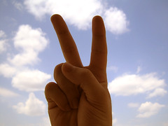 hand, finger, sign language, close-up, sky,