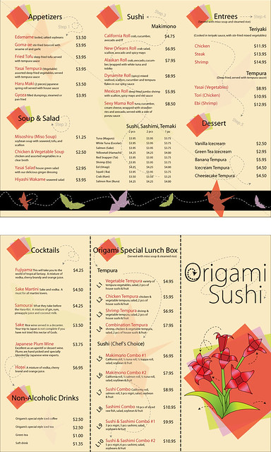 origami sushi menu design flickr photo sharing