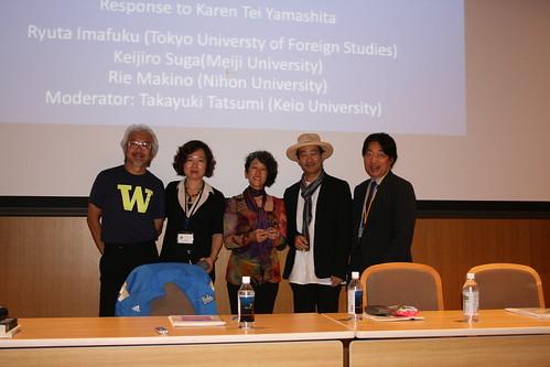 After the comment session - Keijiro Suga, Rie Makino, Karen Tei Yamashita, Ryuta Imafuku, and Takayuki Tatsumi pose for the camera.