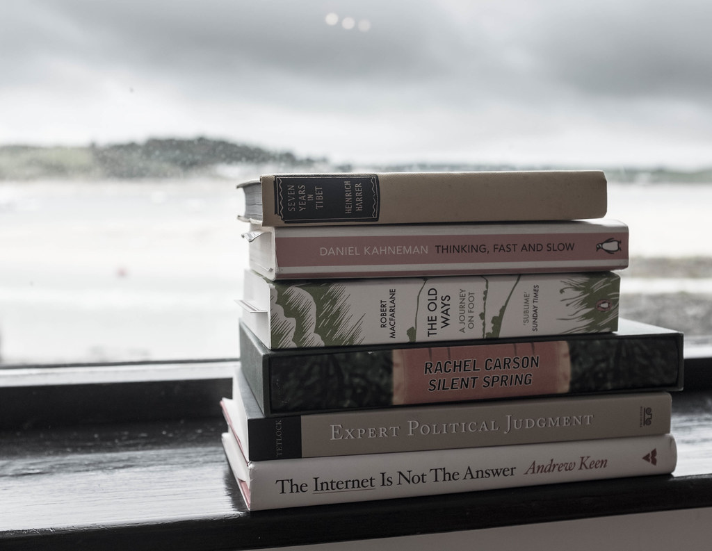 Holiday reading on the windowsill