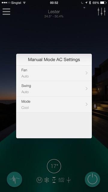 Ambi Climate IOS App - Manual Mode AC Settings