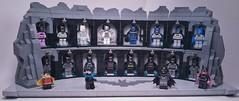 Rebuilt my Batman suit display MOC to fit all 16 different suits. I'm diggin it so far