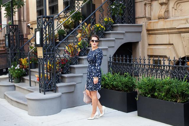 club monaco printed dress chloe marcie bag white heels dvf lipstick what to wear fashion blogger corporate catwalk