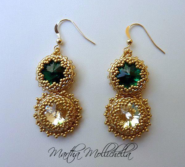 orecchini oro e rivoli swarovski handmade by Martha Mollichella Handmade jewelry