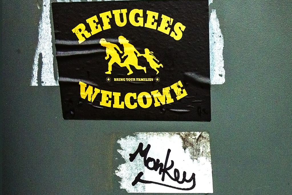 REFUGEES WELCOME sticker on 10-8-15--Leipzig (detail)