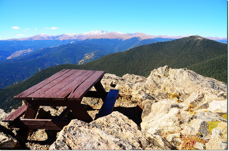 The picnic table on the summit