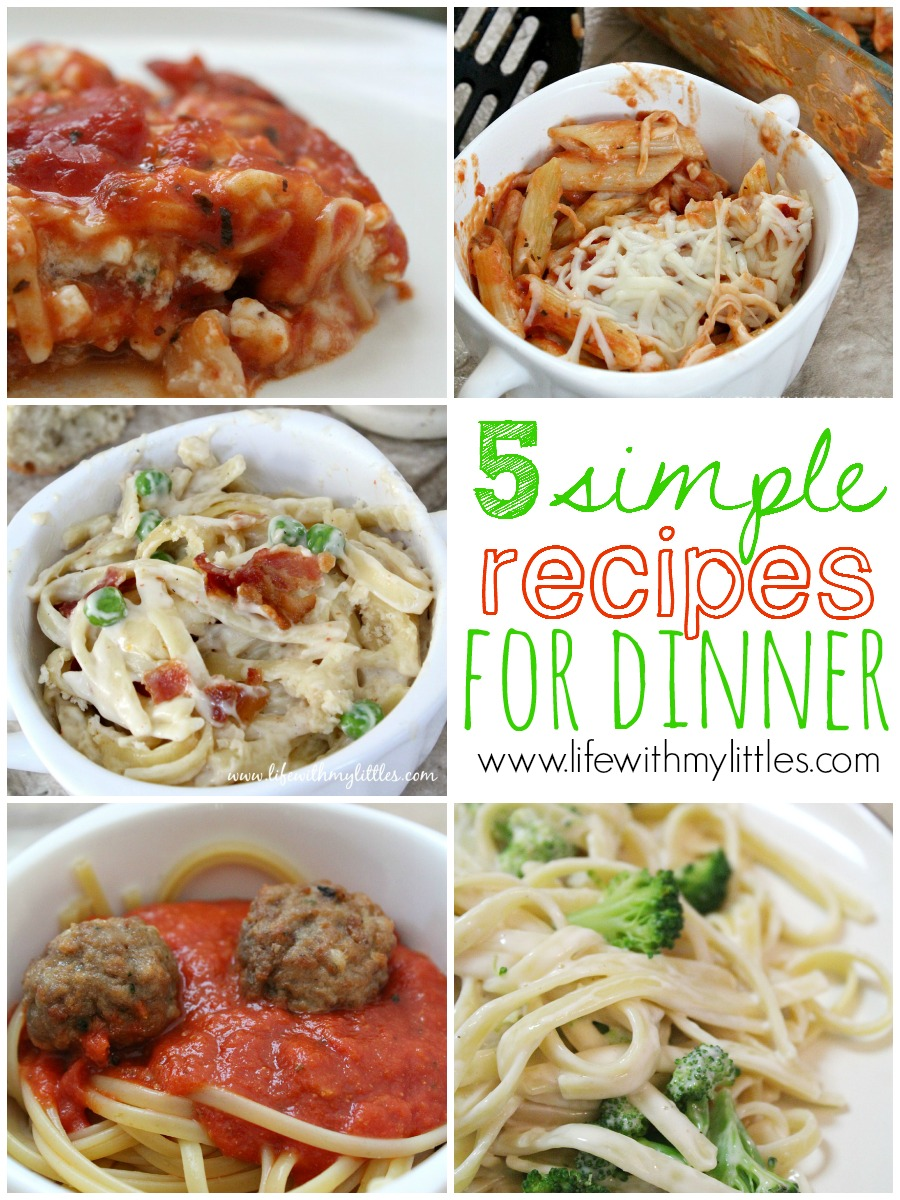 5 simple recipes for dinner on busy weeknights! These recipes are so easy and are perfect for busy moms who don't have a lot of time to cook, but still want a homemade meal!
