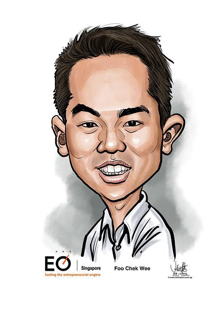 Foo Chek Wee digital caricature for EO Singapore