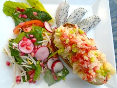 Stuffed Baked Potato With Smoked Salmon, Dragon Fruit And Salad