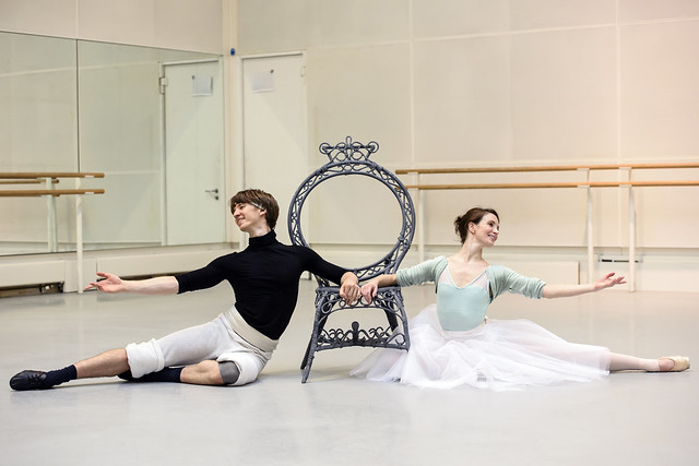 Vadim Muntagirov as the Young Man and Lauren Cuthbertson as the Young Girl in rehearsal for The Two Pigeons, The Royal Ballet © 2015 ROH. Photograph by Bill Cooper