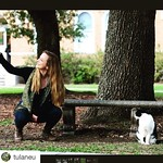 #Repost from @tulaneu: some #tulane #students getting a selfie with @mickeythecampuscat is a #bucketlist goal! #campus #neworleans #mickey #cowcat #tunola #tulaneuniversity