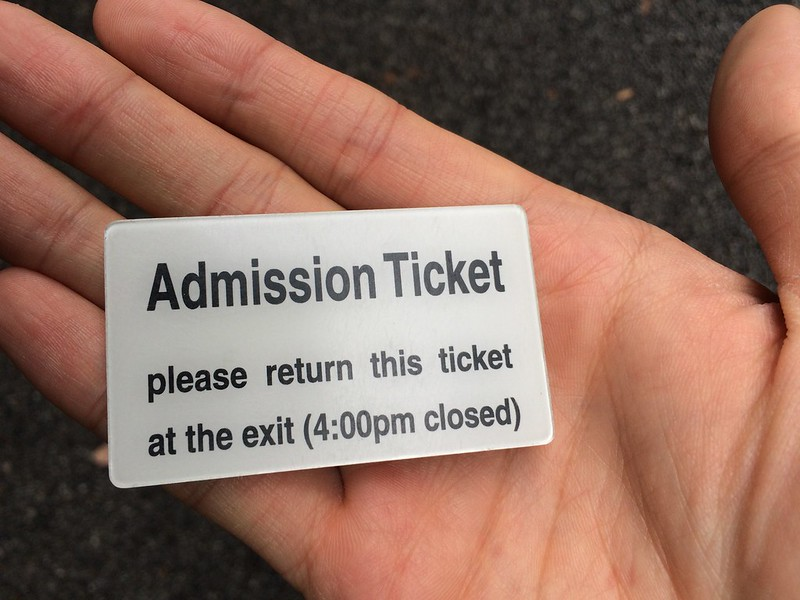 Admission ticket/token for Imperial Palace East Garden. English