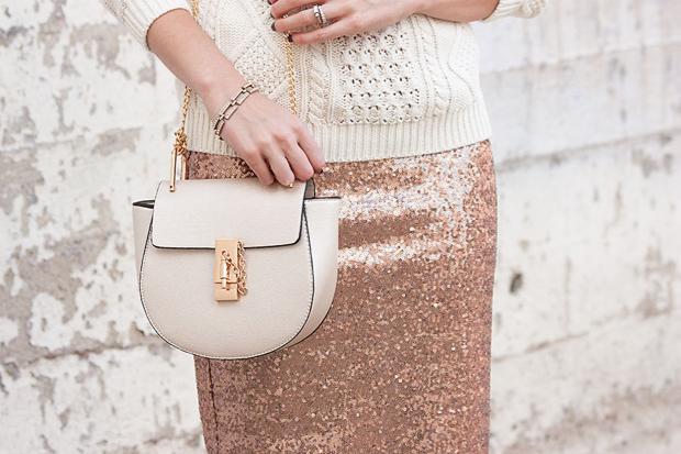 Rose Gold Sequin Skirt, Chloe Drew Crossbody Bag