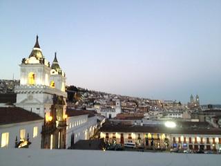 Ecuador Quito plaza at sunset