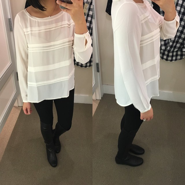 LOFT Pleated Stripe Blouse