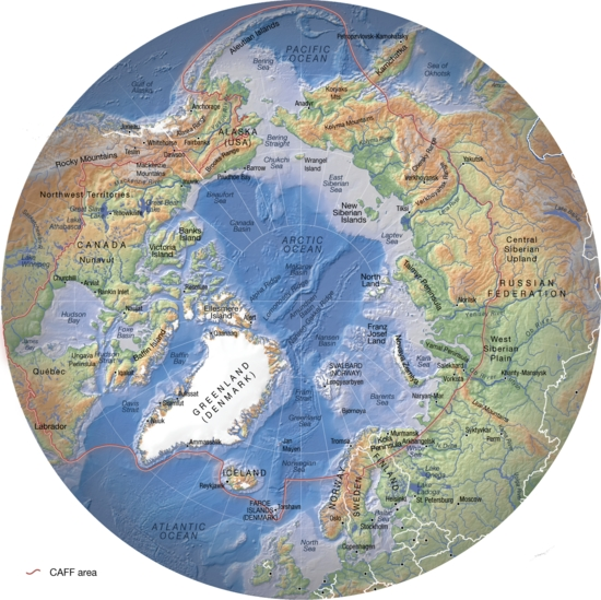 Arctic, topography and bathymetry (topographic map) | GRID ...