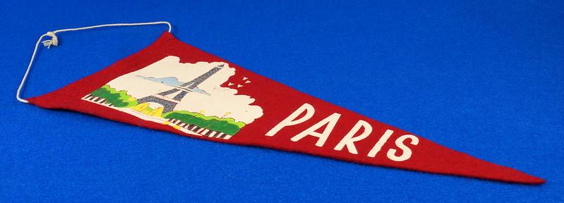 RD15161 Vintage France PARIS Eiffel Tower 2 Sided Red Mini Flag Felt Pennant 11 inch DSC08715