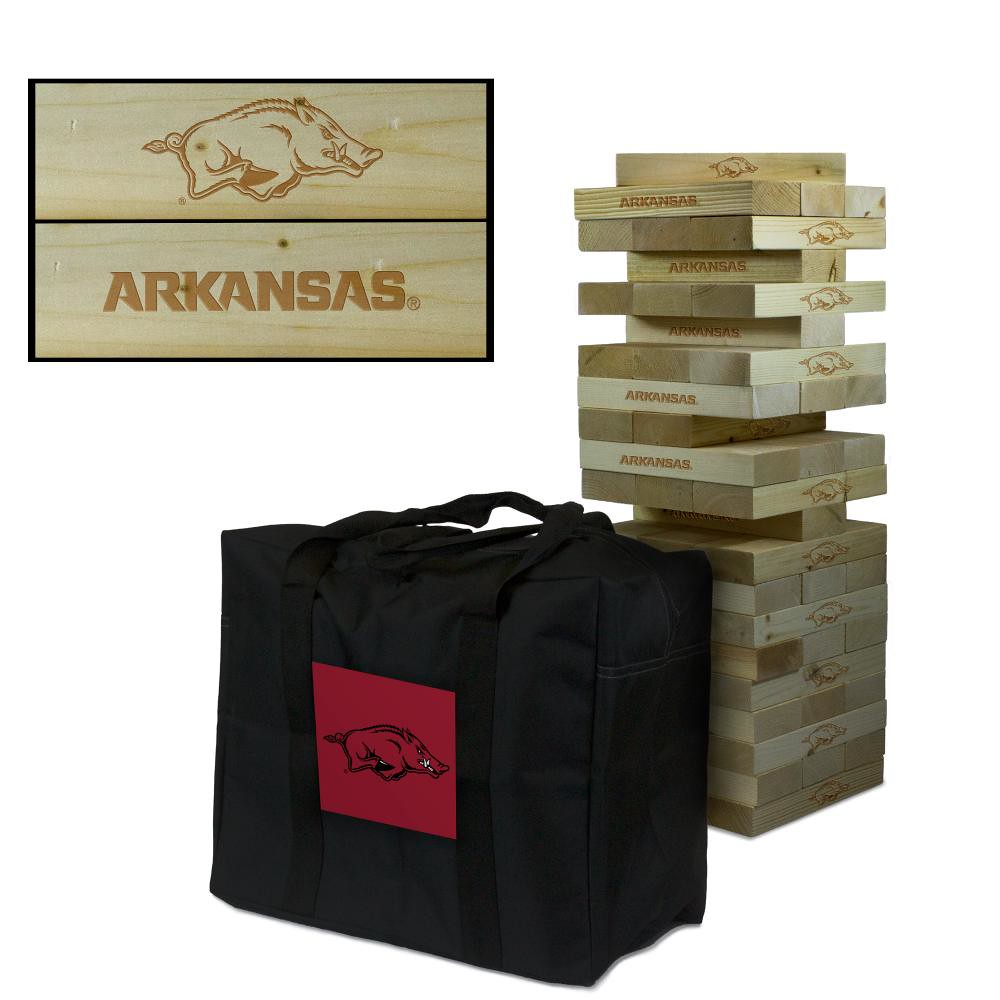 Arkansas Razorbacks Wooden Tumble Tower Game