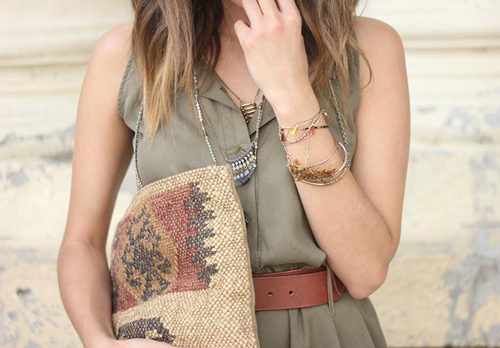 Khaki Jumpsuit Hat Clutch Summer Outfit 12