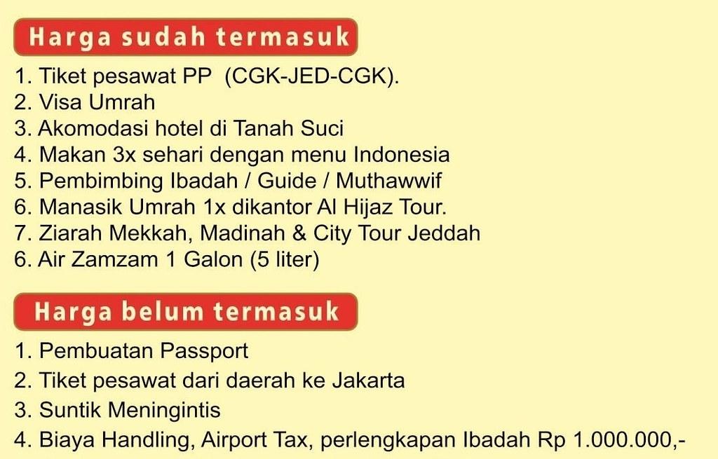 Biaya Paket Umroh Travel ALHIJAZ Belum Termasuk dan Sudah Termasuk