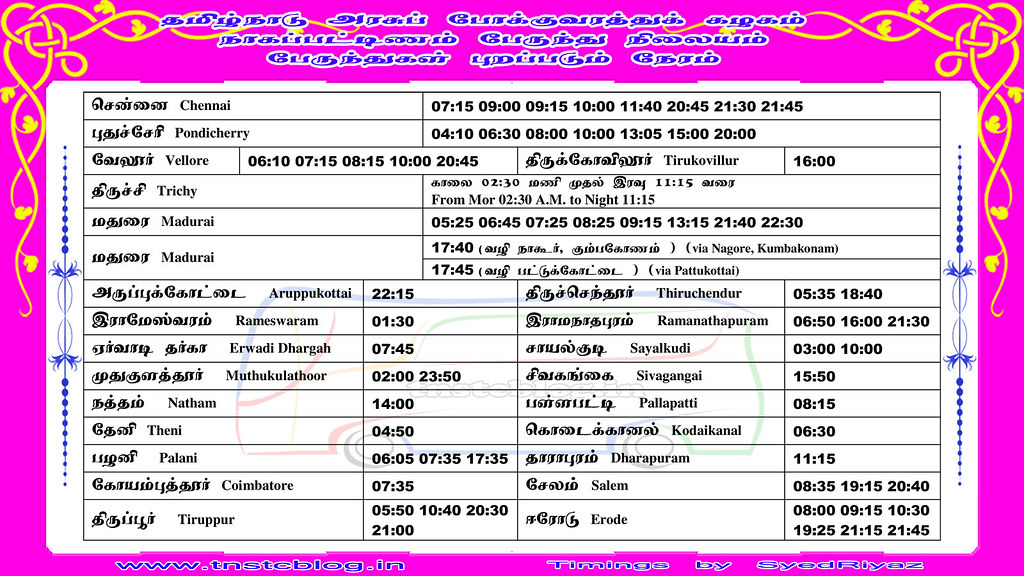 TNSTC Express Bus Timings at Nagapattinam