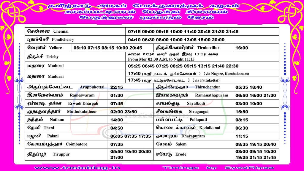 TNSTC Express Bus Timings at Nagapattinam