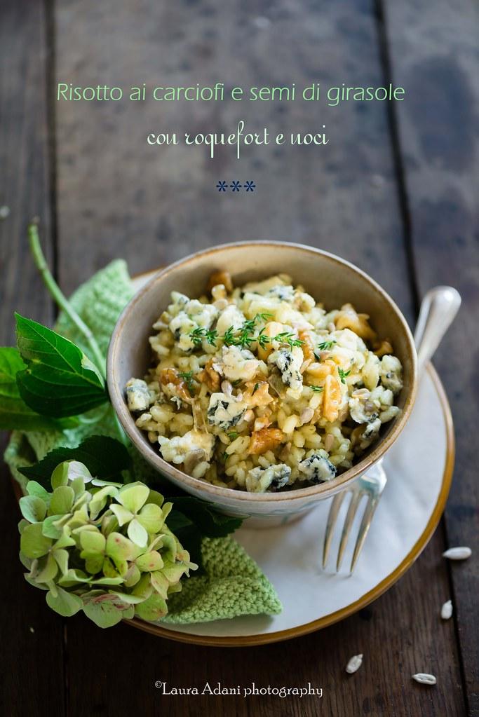 risotto con carciofi, roquefort e noci