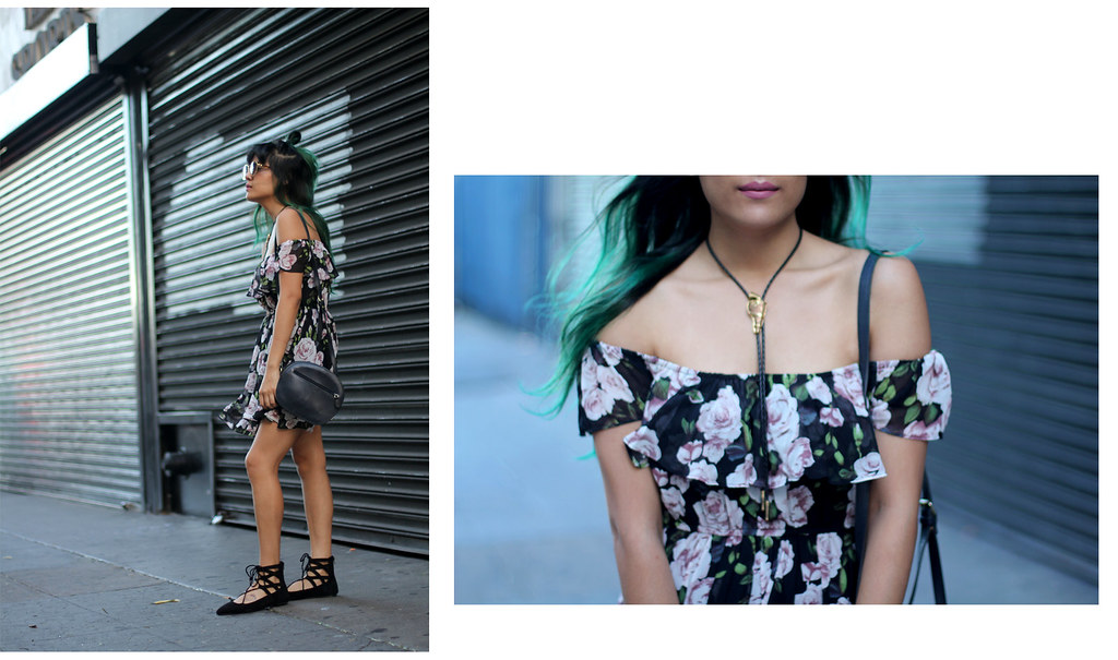 Lucy Paris off the shoulder dress, Public Desire lace-up flats, vintage back, green hair, vintage bolo