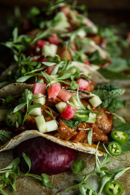 Plum Hoisin Glazed Pork Tacos