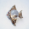 Vintage Jelly Belly Angelfish Brooch - Unmarked Small Angel Fish w/ Clear Lucite Middle and Rhinestones