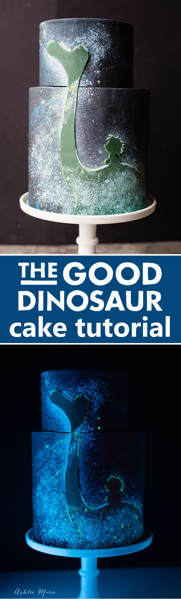 full video tutorial for making this glow in the dark cake for Disney's The Good Dinosaur and Fandango family