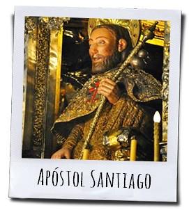 Het beeld van de apostel Jakobus in de kathedraal van Santiago de Compostela