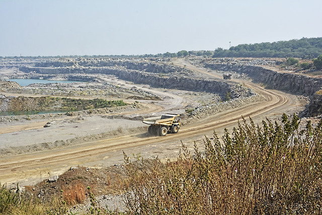 """""""80% of Paraswani's landscape is now just mines. In two decades, Ultratech Cement Ltd. has acquired 842.18 hectares out of 1000 hectares for commercial mining"""", says Balram Mirjha, Sarpanch of Paraswani village."""