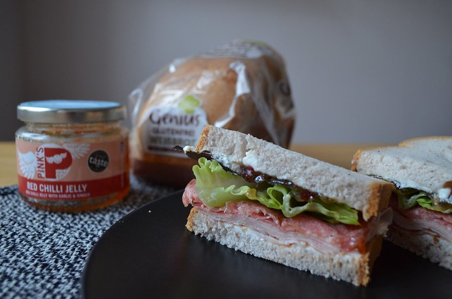 Genius Gluten Free bread in Germany review Weissbrot sandwich with Pink's Foods Red Chilli Jelly