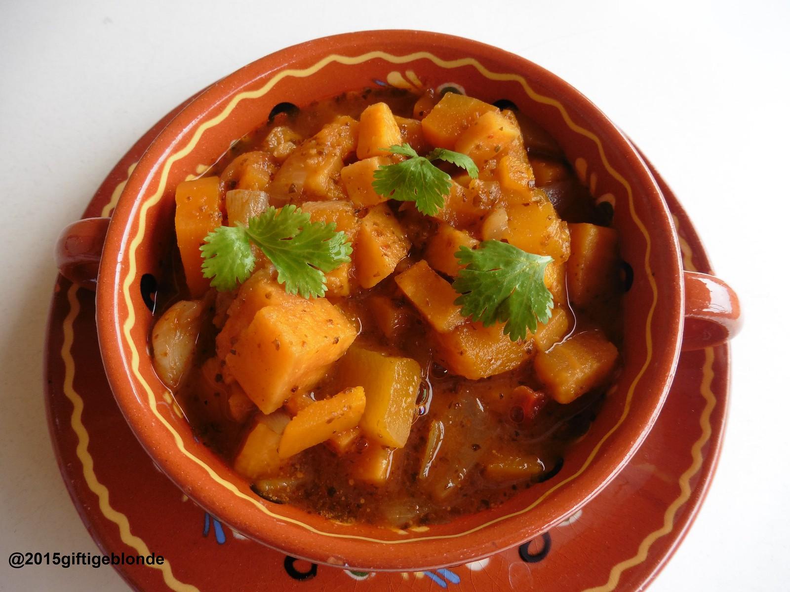 Kürbis-Süßkartoffel Eintopf mit Koriander