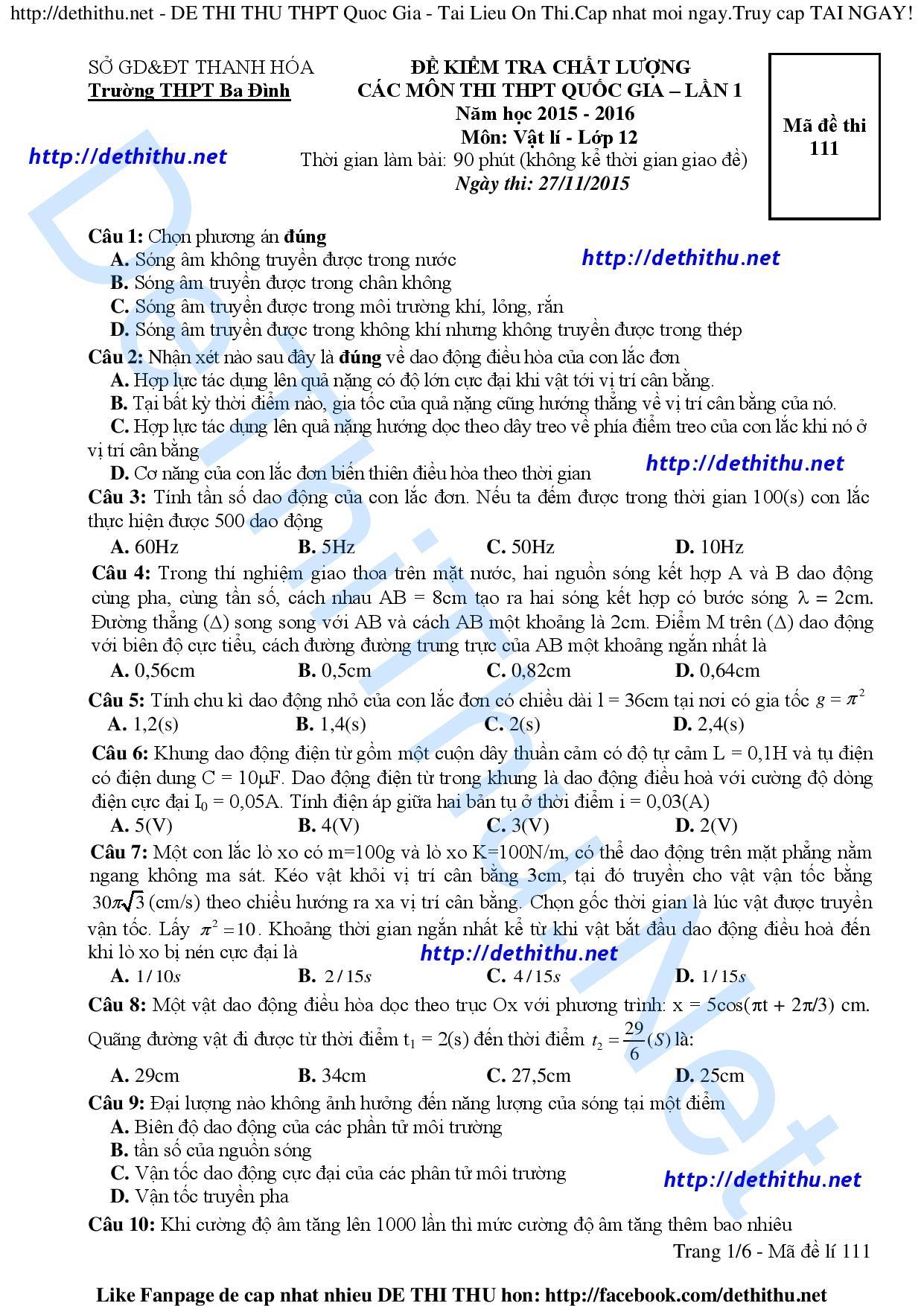 Đề thi thử THPT Quốc gia 2016 môn Lý THPT Ba Đình - Thanh Hóa