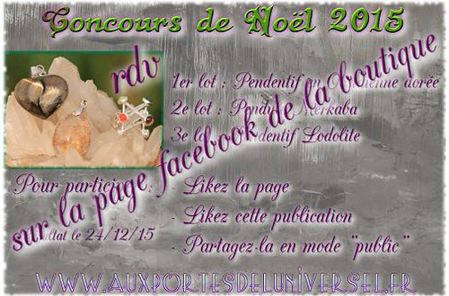 Concours de noël sur la page Facebook de la boutique Aux Portes de l'Universel
