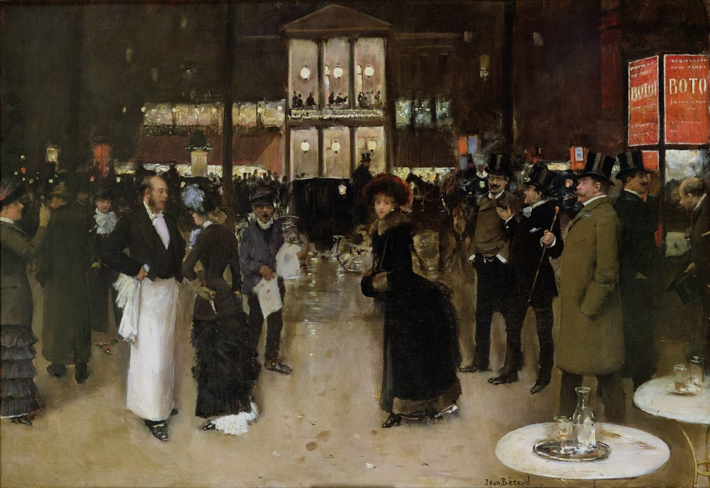 The Boulevard at Night, in front of the Theatre des Varietes by Jean-Georges Béraud, 1883