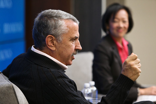 Tom Friedman answers Amy Liu's questions during book discussion at Brookings.