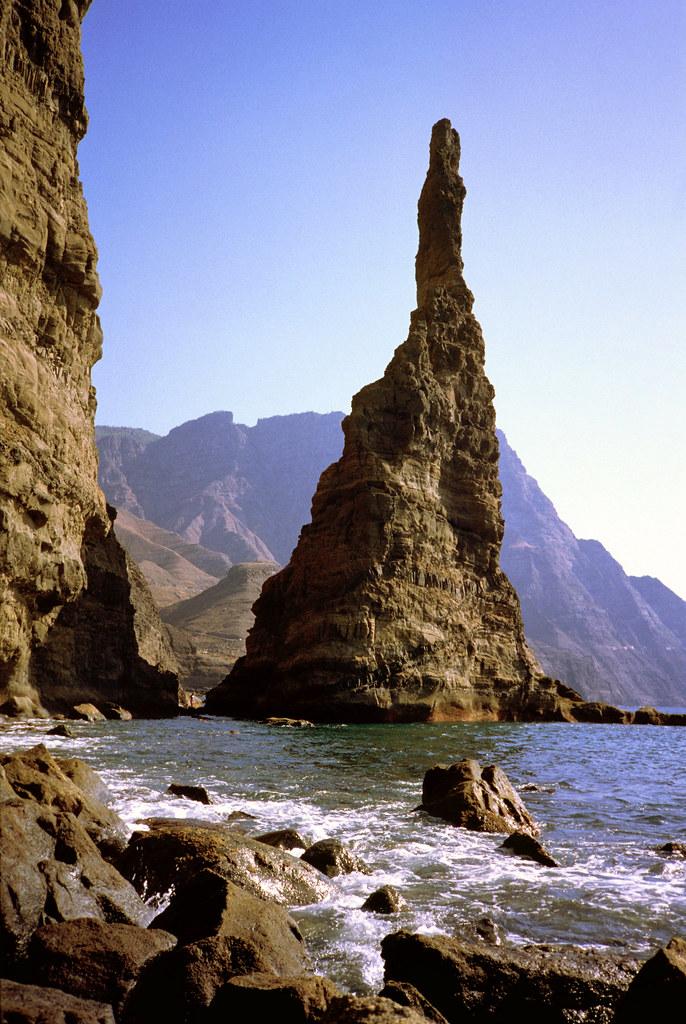 Puerto de las Nieves met de Vinger Gods, een zeepilaar, Gran Canaria, Canarische Eilanden 1989