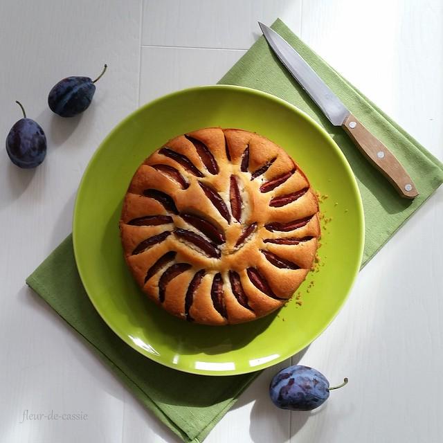 пирог с утопленными сливами 1