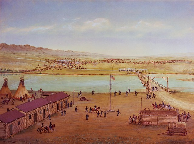 Battle at Platte Bridge Station, July 1865 – painted in 1933 by William Henry Jackson