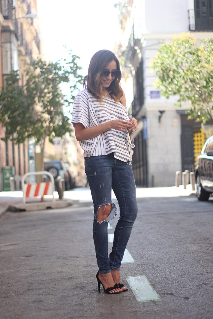Casual Friday Jeans stripes top summer outfit04