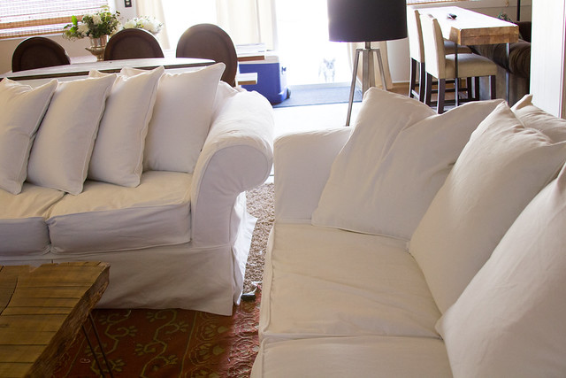 Loose Fitted Slipcovers in White Denim