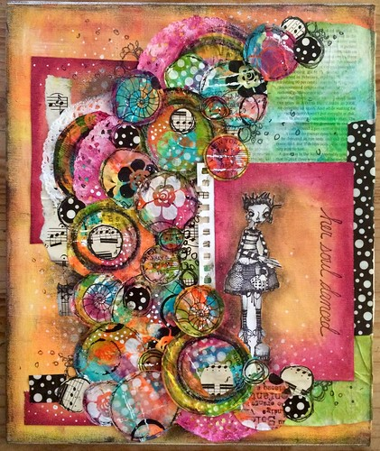 Collage on canvas board from a class with Karen Hayselden at Art From The Heart